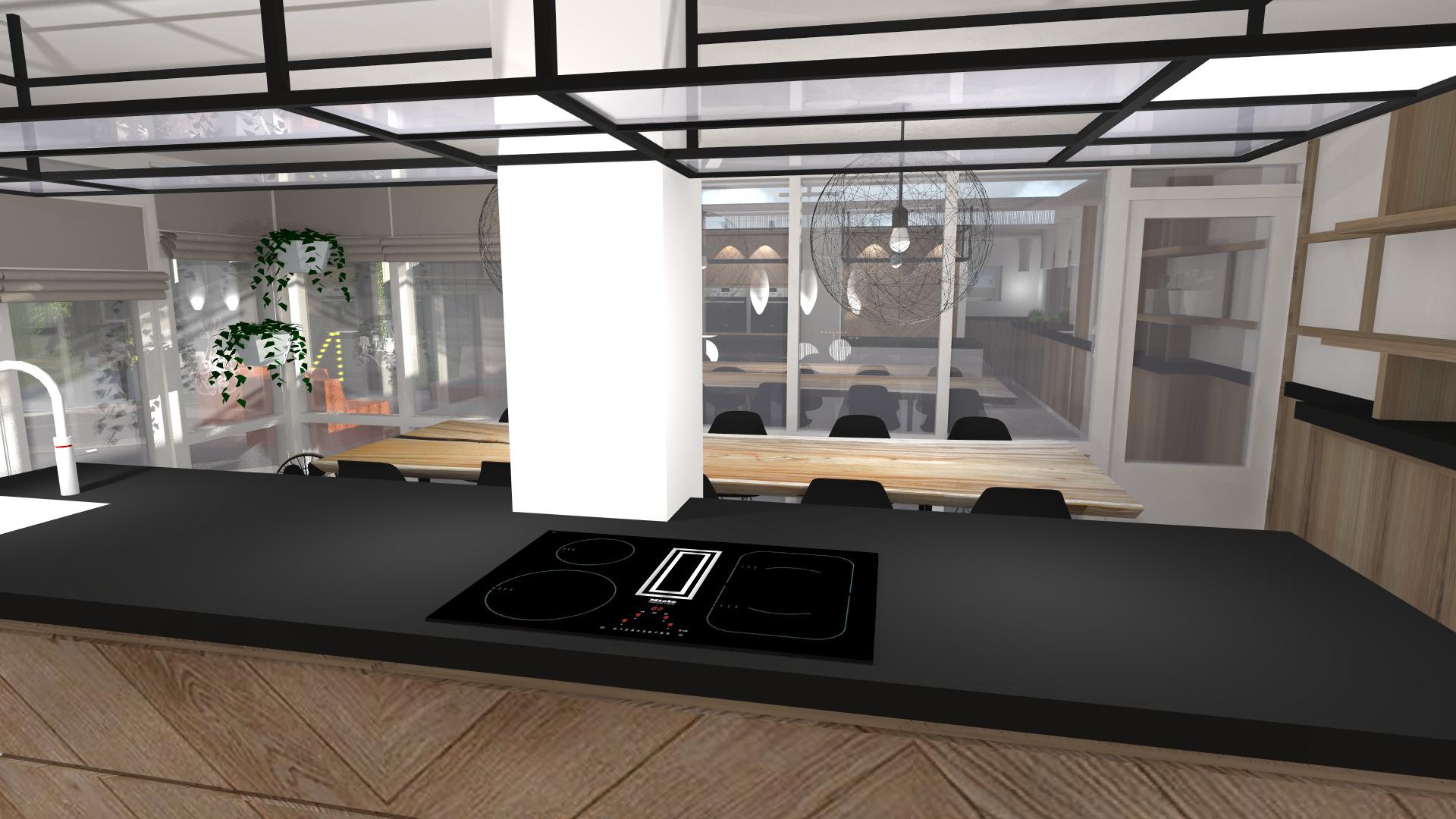 blik vanuit keuken naar buiten