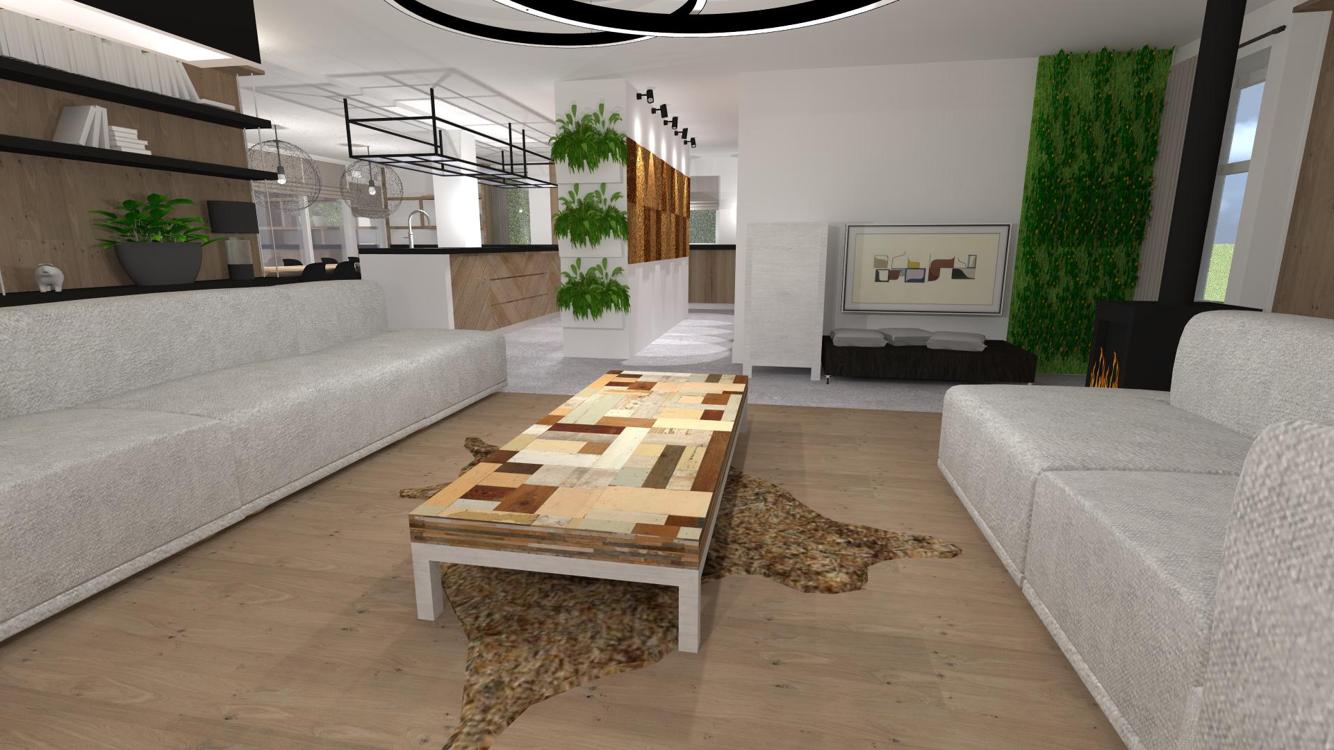 woonkamer met zicht op keuken