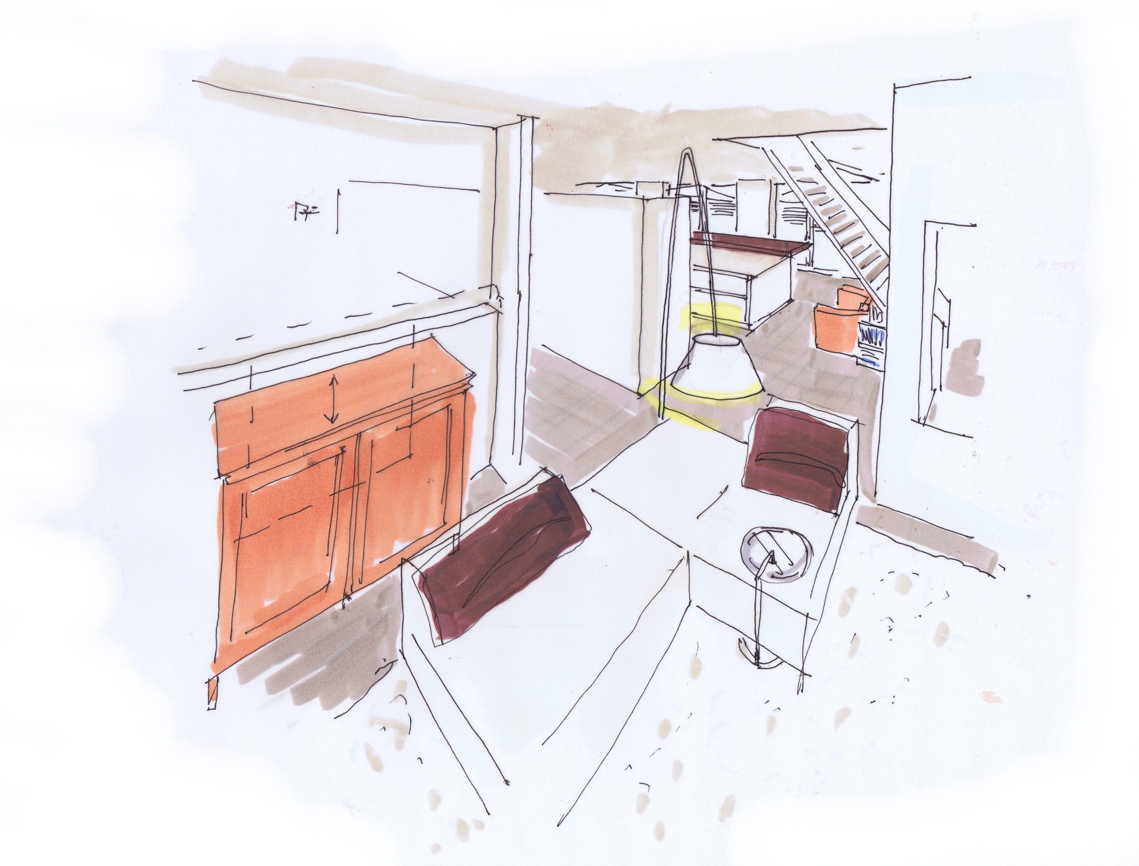 Woonkamer met zicht keuken Penthouse
